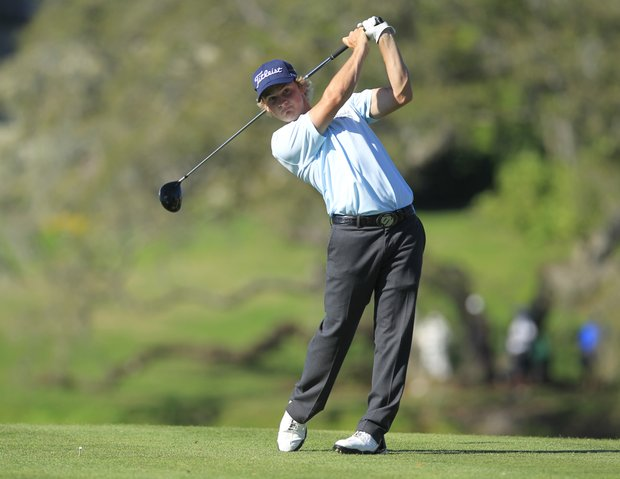 Bud Cauley hits a shot from the 16th tee during the final round of the Arnold Palmer Invitational golf tournament at Bay Hill, Sunday, March 25, 2012, in Orlando, Fla.