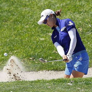 So Yeon Ryu, of South Korea, hits from the 17th bunker during the second round of the Kraft Nabisco Championship golf tournament, Friday, March 30, 2012, in Rancho Mirage, Calif.