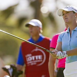 Cristie Kerr watches her drive off the 10th tee during the second round of the LPGA Lotte Championship golf tournament at the Ko Olina Golf Club, Thursday, April 19, 2012 in Kapolei, Hawaii.
