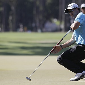 Adam Scott of Australia reacts after he missed a putt on the 15th hole during the second round of the Players Championship golf tournament at TPC Sawgrass, Friday, May 11, 2012, in Ponte Vedra Beach, Fla.