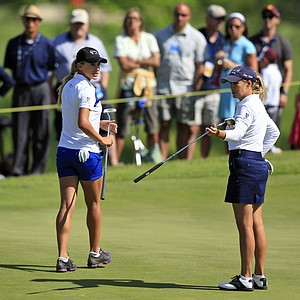 Cristie Kerr, right, and Belen Mozo, of Spain, talk on the 16th hole during their first round match at the LPGA Sybase Match Play Championship golf competition at Hamilton Farm Golf Club in Gladstone, N.J., Thursday, May 17, 2012. Kerr won the match 2 and 1.
