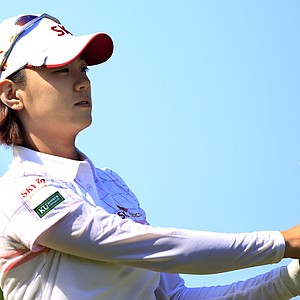 Na Yeon Choi, of South Korea, watches her tee shot on the 16th hole during second round match against Jenny Shin in the LPGA Sybase Match Play Championship golf competition at Hamilton Farm Golf Club in Gladstone, N.J., Friday, May 18, 2012. Choi won 3 and 2.