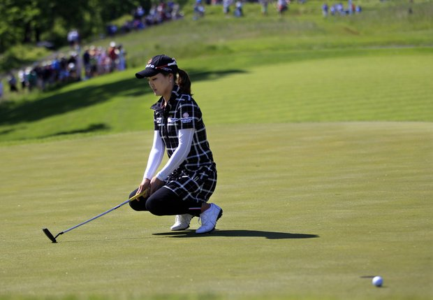 So Yeon Ryu, of South Korea, reacts to missing her putt on the 16th hole during second round match against Mina Harigae in the LPGA Sybase Match Play Championship golf competition at Hamilton Farm Golf Club in Gladstone, N.J., Friday, May 18, 2012. Ryu won 3 and 2.