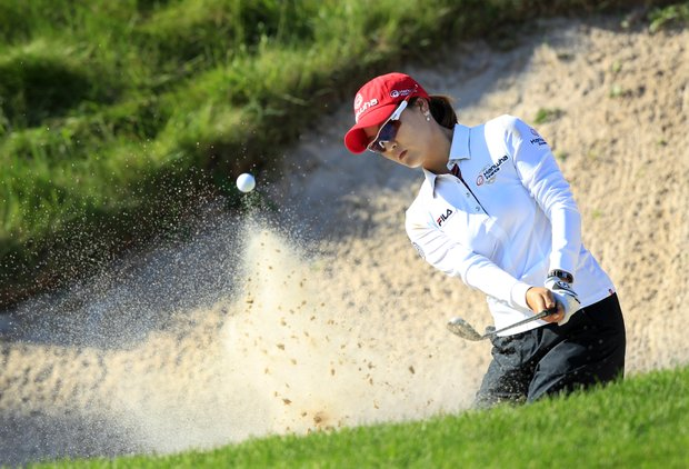 So Yeon Ryu, of South Korea, hits from a trap on the 18th hole during a fourth round match against Vicky Hurst in the LPGA Sybase Match Play Championship golf competition at Hamilton Farm Golf Club in Gladstone, N.J., Saturday, May 19, 2012. Hurst won 2-up.