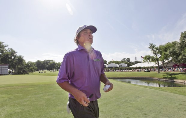 Jason Dufner during the third round of the PGA Colonial golf tournament Saturday, May 26, 2012, in Fort Worth, Texas.