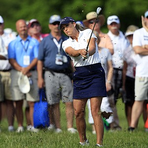 Cristie Kerr hits from the rough on the ninth hole during the second round of the LPGA ShopRite Classic golf competition at Stockton Seaview Hotel and Golf Club in Galloway Township, N.J., Saturday, June 2, 2012.