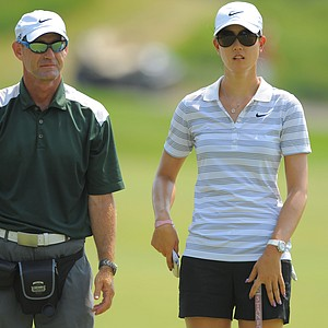Michelle Wie and her caddie during a practice round for the US Women's Open at Blackwolf Run on July 4, 2012 in Kohler, Wisconsin.