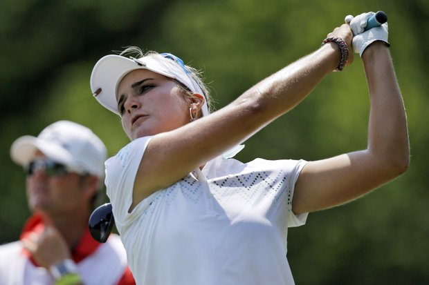 Lexi Thompson drives off the third tee during the first round of the U.S. Women's Open golf tournament, Thursday, July 5, 2012, in Kohler, Wis.