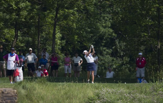 Cristie Kerr tees off the sixth hole during the second round of the U.S. Women's Open golf tournament, Friday, July 6, 2012, in Kohler, Wis.