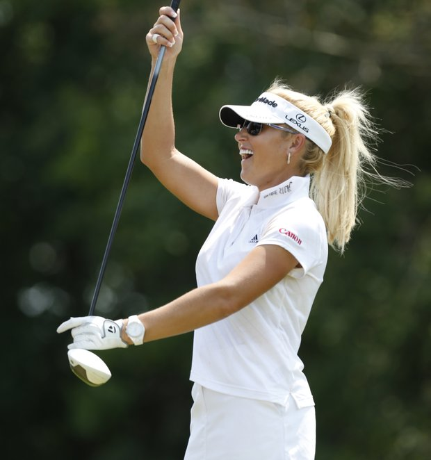 Natalie Gulbis laughs on the tenth tee during the second round of the U.S. Women's Open golf tournament on Friday, July 6, 2012, in Kohler, Wis.