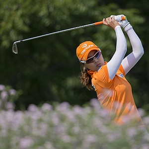 So Yeon Ryu, of South Korea, tees off the sixth hole during the second round of the U.S. Women's Open golf tournament on Friday, July 6, 2012, in Kohler, Wis.