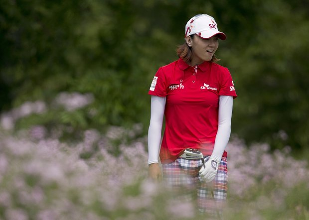 South Korea's Na Yeon Choi reacts as her tee shot off six falls on the green during the third round of the U.S. Women's Open golf tournament on Saturday, July 7, 2012, in Kohler, Wis.