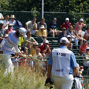 Na Yeon Choi, of South Korea, hits from a hill on the 12th hole during the final round of the U.S. Women's Open golf tournament, Sunday, July 8, 2012, in Kohler, Wis.