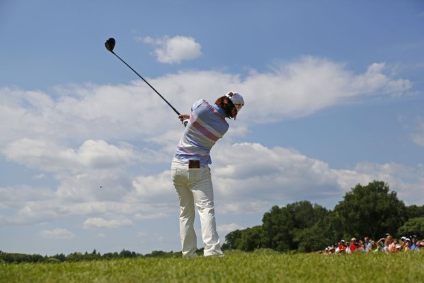 Na Yeon Choi, of South Korea, watches her tee shot on the 10th hole during the final round the U.S. Women's Open golf tournament on Sunday, July 8, 2012, in Kohler, Wis. Choi won the Open.