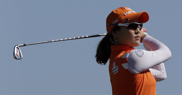 So Yeon Ryu, of South Korea, watches her tee shot on the second hole during final round play in the Navistar LPGA Classic golf tournament, Sunday, Sept. 23, 2012, at the Robert Trent Jones Golf Trail in Prattville, Ala.