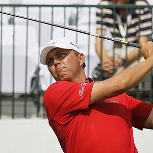 Bo Van Pelt watches tee shot on the 10th hole during the first round of the BMW Championship PGA golf tournament at Crooked Stick Golf Club in Carmel, Ind., Thursday, Sept. 6, 2012.