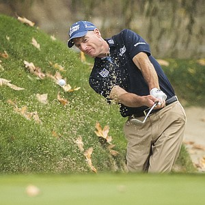 Jim Furyk hits out of sand trap on the fourth hole during the final round of the World Challenge golf tournament at Sherwood Country Club in Thousand Oaks, Calif., Saturday, Dec. 2, 2012.