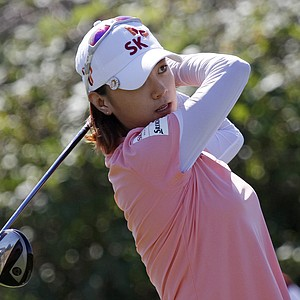 Na Yeon Choi, of South Korea, tees off during the first day of the LPGA Safeway Classic golf tournament in North Plains, Ore., Friday, Aug. 17, 2012. Choi finished the day with a 3-under-par 69.