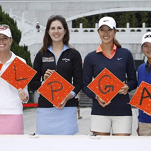 Professional golfers from left to right; Paula Creamer of the United States, Sandra Gal of Germany, Michelle Wie of the United States, and Yani Tseng of Taiwan display mock calligraphy during a press conference announcing the Taiwan Championship LPGA Golf tournament, Tuesday, Oct. 23, 2012 in Taipei, Taiwan. The tournament will be held at the Sunrise Golf & Country Club on Oct. 25-28.
