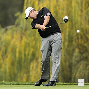 Bo Van Pelt tees off on the fifth hole during the second round of the World Challenge golf tournament at Sherwood Country Club in Thousand Oaks, Calif., Friday, Nov. 30, 2012.