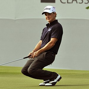 Bud Cauley reacts after missing a birdie putt on the 17th green during the second round of The McGladrey Classic PGA Tour golf tournament, Friday, Oct. 19, 2012, in St. Simons Island, Ga.