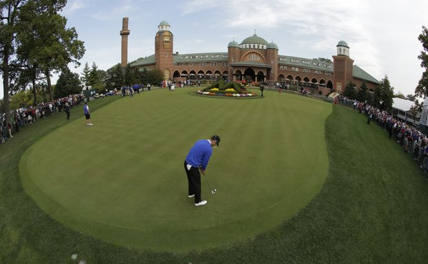 This image made with a fisheye lens show Europe's Martin Kaymer putting on the practice green at the Ryder Cup PGA golf tournament Wednesday, Sept. 26, 2012, at the Medinah Country Club in Medinah, Ill.