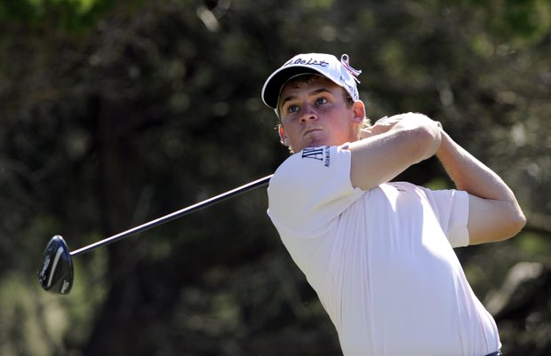 Bud Cauley watches his tee shot down the second fairway during the third round of the McGladrey Classic PGA Tour golf tournament Saturday, Oct. 20, 2012 in St. Simons Island, Ga.