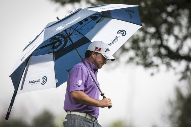 Graeme McDowell walks off the second tee during the third round of the World Challenge golf tournament at Sherwood Country Club in Thousand Oaks, Calif., Saturday, Dec. 1, 2012.