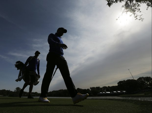 Europe's Sergio Garcia makes his way to the second hole during a practice round at the Ryder Cup PGA golf tournament Wednesday, Sept. 26, 2012, at the Medinah Country Club in Medinah, Ill.