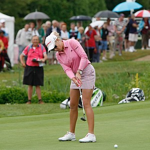 Natalie Gulbis of USA plays on the eighteenth hole during the third round of the Evian Masters women's golf tournament in Evian, eastern France, Saturday, July 28, 2012.