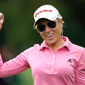 Natalie Gulbis of USA reacts on the 18th hole during the third round of the Evian Masters women's golf tournament in Evian, eastern France, Saturday, July 28, 2012.