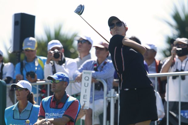 Michelle Wie of the United States tees off on the first day of the Taiwan Championship LPGA Golf tournament at the Sunrise Golf & Country Club, Thursday, Oct. 25, 2012 in Yangmei, Taiwan.