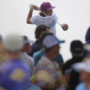 Rickie Fowler hits from the ninth tee during the second round of the PGA Championship golf tournament on the Ocean Course of the Kiawah Island Golf Resort in Kiawah Island, S.C., Friday, Aug. 10, 2012.