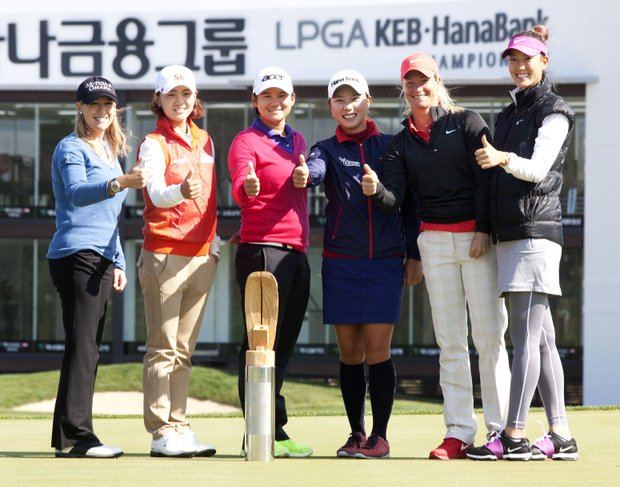 15 October 2012 - Incheon, South Korea : (L to R) LPGA golf players American Cristie Kerr, South Korean Choi Na-yeon, Chinese Yani Tseng, South Korean Park Hee-Young, American Patterson Susan and Michelle Wie, poses with Tropy the LPGA KEB-Hana Bank Championship 2012 golf tournament during a press conferencd at Sky72 Golf Club Ocean course in Incheon, west of Seoul, South Korea on October 15, 2012. the KEB-Hana Bank Championship in Incheon from Oct. 19-21.