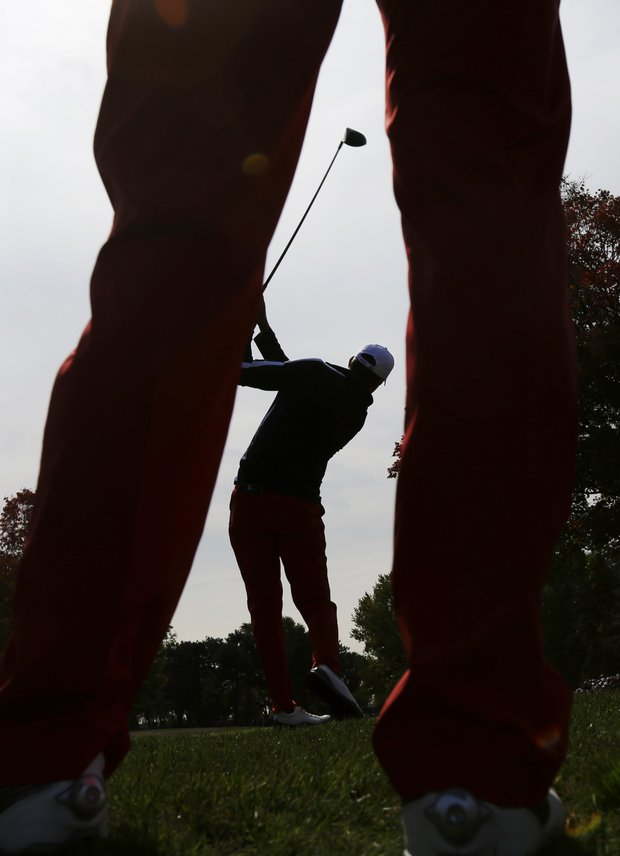 USA's Matt Kuchar hits a drive on the ninth hole during a practice round at the Ryder Cup PGA golf tournament Wednesday, Sept. 26, 2012, at the Medinah Country Club in Medinah, Ill.