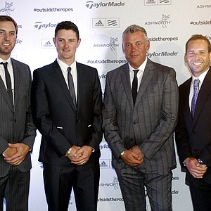 Professional Golfers, from left, Dustin Johnson, Justin Rose, Darren Clarke and Sergio Garcia attend the film Premiere of Taylormade Presents, Outside the Ropes, at Lytham Hall, Lytham St Annes, England, Monday, July 16, 2012. A new film that reveals the physical, mental and technological preparation of today's elite golfers.