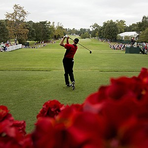 Jim Furyk tees off on the first hole during the first round of the Tour Championship golf tournament Thursday, Sept. 20, 2012, in Atlanta.