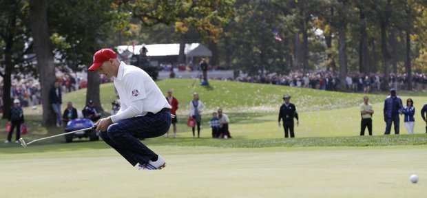USA's Jim Furyk reacts after missing a putt on the 18th hole to lose a foresomes match at the Ryder Cup PGA golf tournament Friday, Sept. 28, 2012, at the Medinah Country Club in Medinah, Ill.