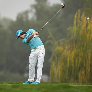 Rickie Fowler tees off on the fifth hole during the third round of the World Challenge golf tournament at Sherwood Country Club in Thousand Oaks, Calif., Saturday, Dec. 1, 2012.