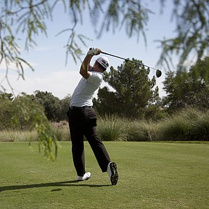 John Huh tees off the second hole during the third round of the Justin Timberlake Shriners Hospitals for Children Open golf tournament, Saturday, Oct. 6, 2012, in Las Vegas.