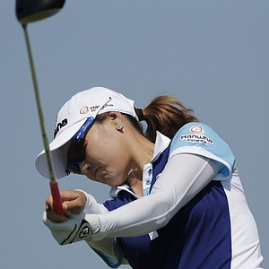 So Yeon Ryu of South Korea watches her drive from the eighth tee during first round play in the Navistar LPGA Classic golf tournament, Thursday, Sept. 20, 2012, at Robert Trent Jones Golf Trail in Prattville, Ala.
