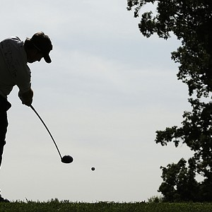 Europe's Graeme McDowell hits a shot on the sixth hole during a practice round at the Ryder Cup PGA golf tournament Wednesday, Sept. 26, 2012, at the Medinah Country Club in Medinah, Ill.