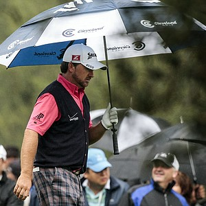 Graeme McDowell walks off the tee box on the second hole during the final round of the World Challenge golf tournament at Sherwood Country Club in Thousand Oaks, Calif., Saturday, Dec. 2, 2012.