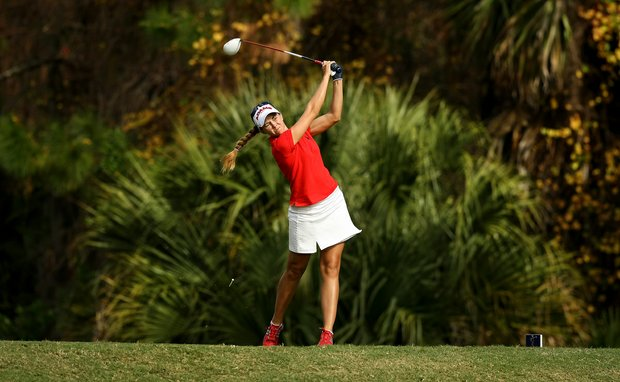 Kathleen Ekey hits her tee shot at No. 9 during the final round of LPGA Q-School.