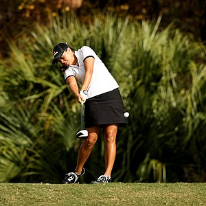 Irene Cho hits her tee shot at No. 9 during the final round of LPGA Q-School. Cho advance after 5 playoff holes to earn her card.