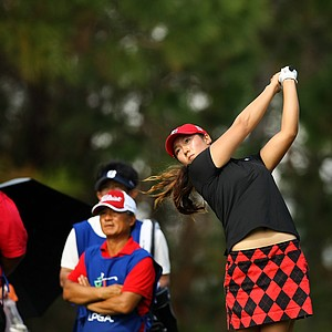 Rebecca Lee-Bentham hits her tee shot at No. 9 during the final round of LPGA Q-School.