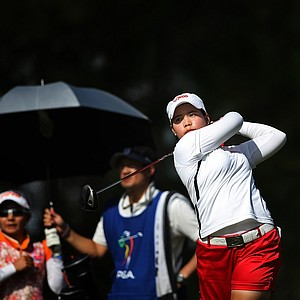 Moriya Jutanugarn hits her tee shot at No. 9 during the final round of LPGA Q-School.