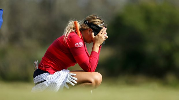 Nicole Hage shows her emotions at No. 17 during the final round of LPGA Q-School. She failed to earn her tour card.