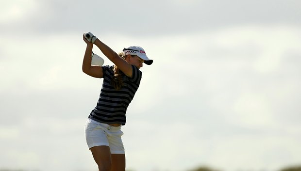 Austin Ernst hits her tee shot at No. 18 during the final round of LPGA Q-School. Ernst earned her LPGA Tour card.