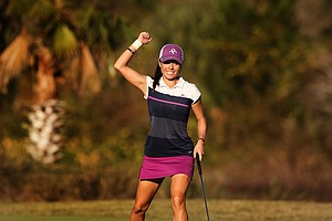 Kelly Jacques celebrates her birdie at No. 18 during the playoff of the final round of LPGA Q-School. Jacques failed to earn her card after 5 playoff holes